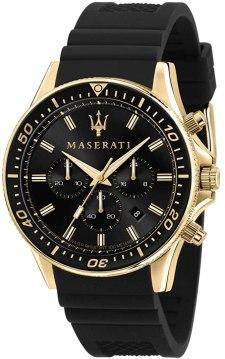 Maserati Orologio da uomo, Collezione Sfida, in Acciaio, PVD Oro, Silicone, con cinturino in Silicone - R8871640001