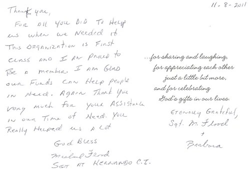 A thank you from Sgt. Flood and his wife Barbara