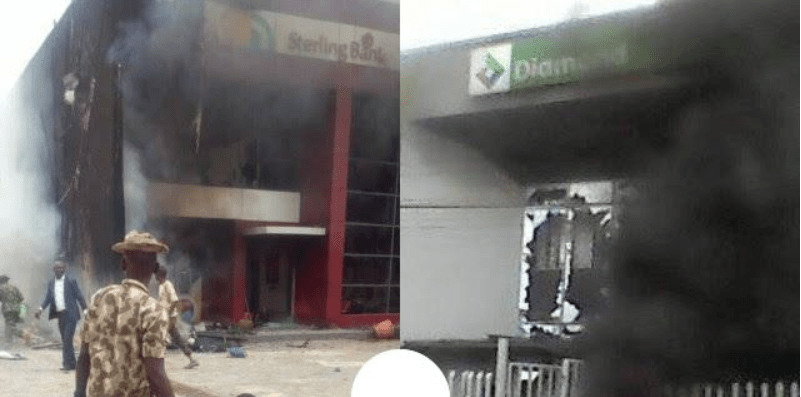 Two banks burnt down to ashes by mob in Apapa, Lagos – See reason