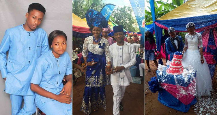 Photos from wedding ceremony of 18-year-old boy and his 17-year-old fiance in Abia state