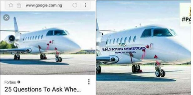 'Alleged Salvation Ministries' private jet was photoshopped' – Facebook user proves (Photo)