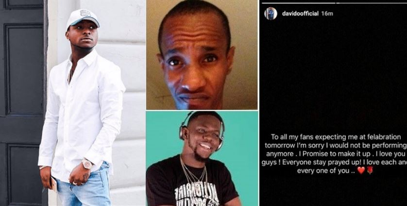 Davido cancels his proposed Felabration performance today in honour of his late friends
