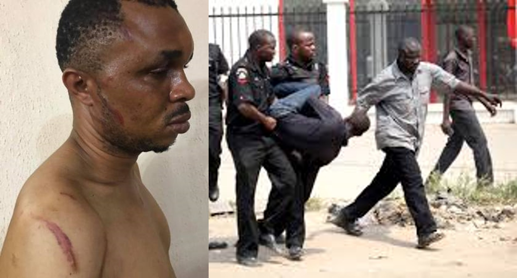 A Nigerian man beaten up, locked in car booth for sleeping with a Policeman's wife (Photos)