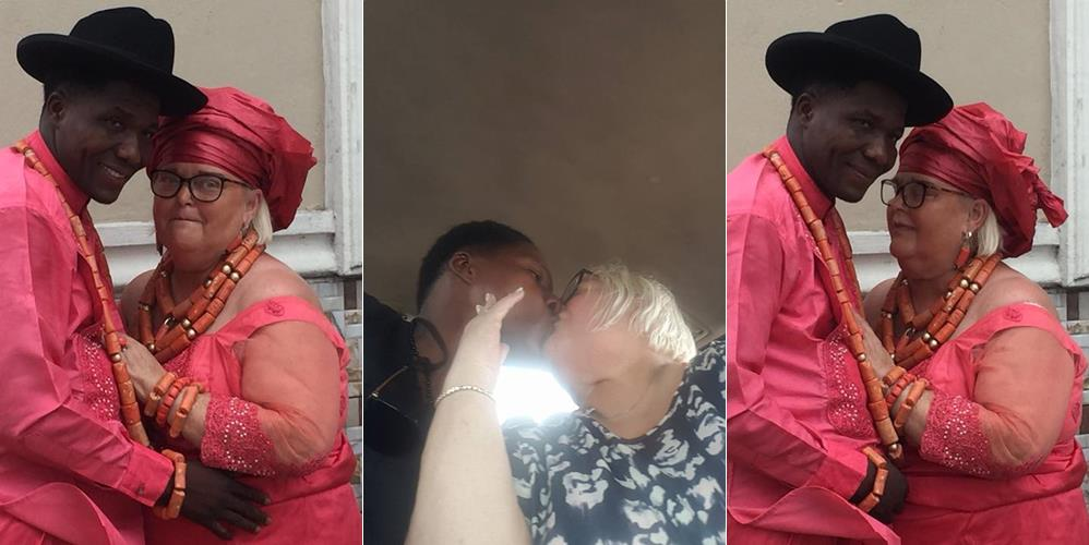 Lovely photos as a Delta vigilante member marries 'Oyinbo' woman from UK