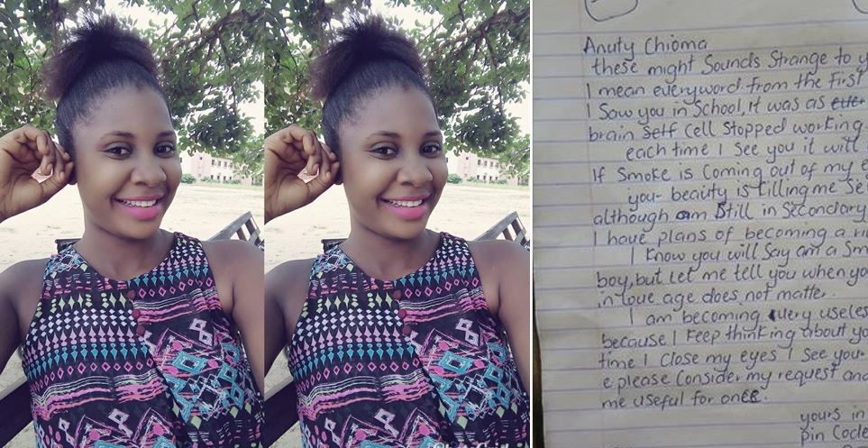 Beautiful young teacher shares love letter she got from her JSS1 student