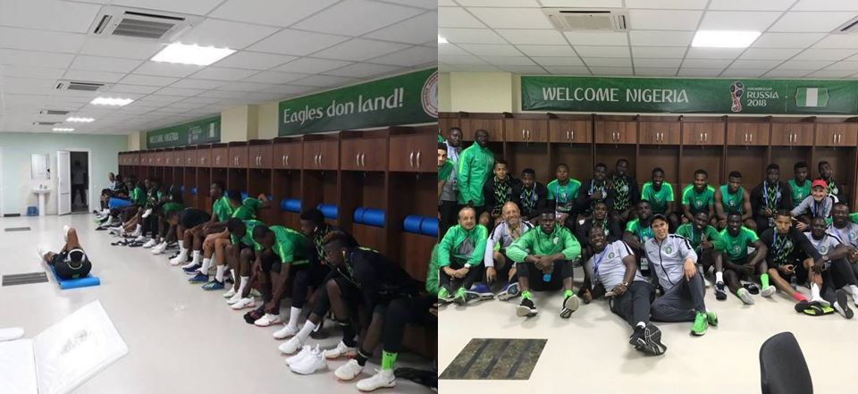 """Eagles don land!"" – Super Eagles dressing room in Russia customized in Pidgin-English (Photos)"