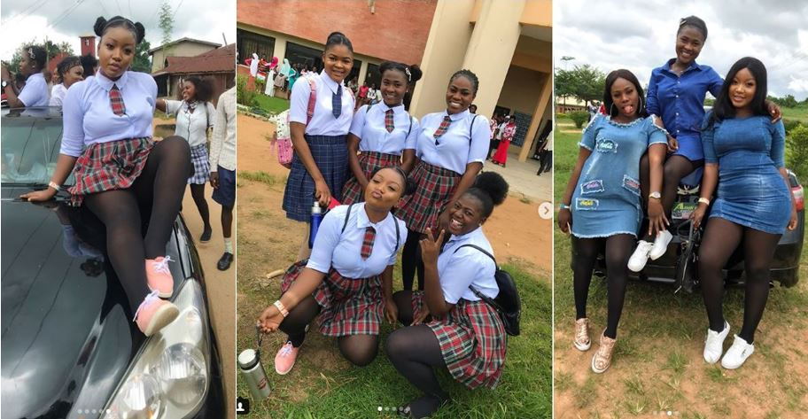 Female final year students of Osun State University dress in secondary school uniforms to celebrate their last examination (Photos)