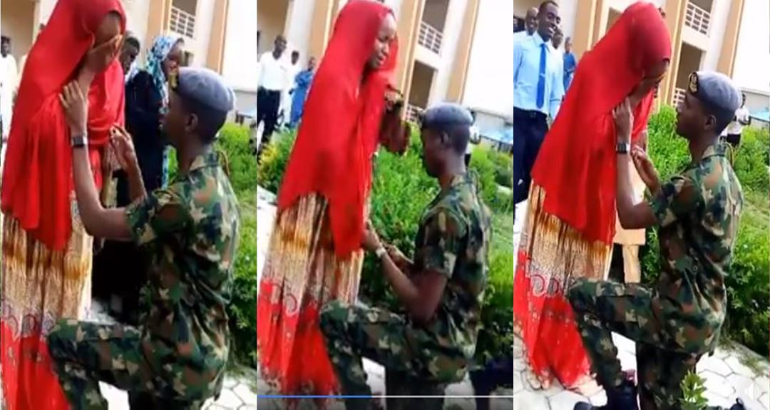 Kano University student couldn't hold back her tears as her soldier boyfriend proposes to her (video)