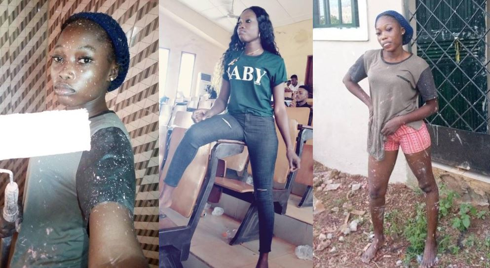 Meet this Nigerian female student who sponsors her education through painting jobs (Photos)