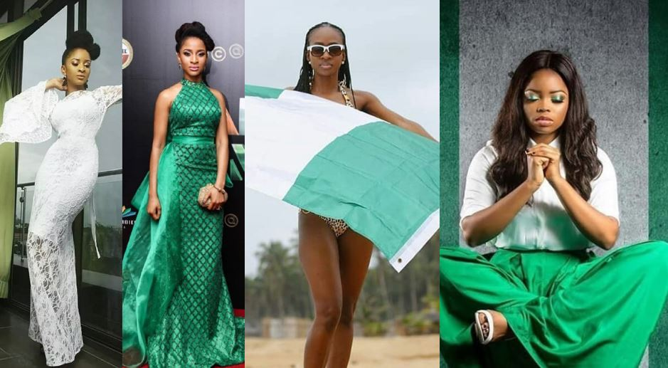 How Some Nigerian Celebrities Celebrated Nigeria's 58th Independence Day In Captivating Green and White Outfits