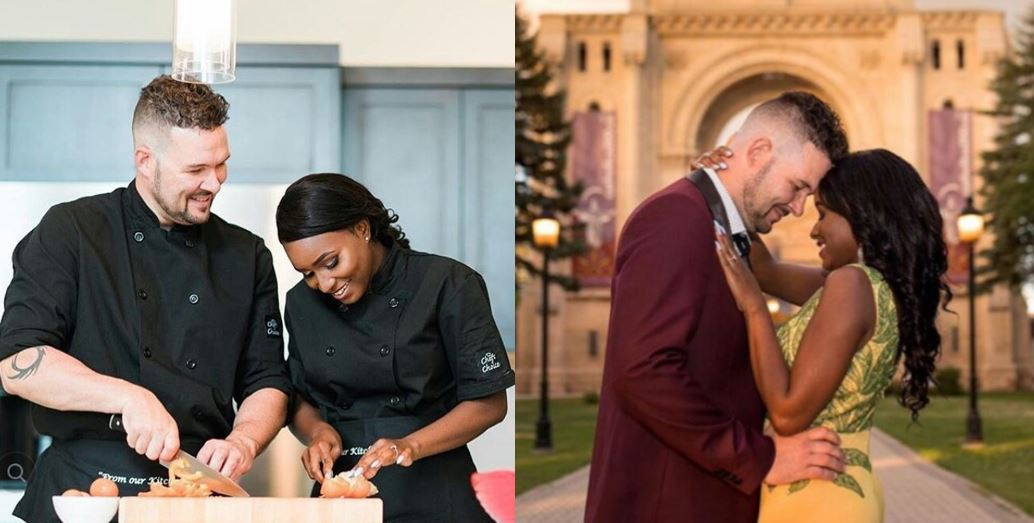 Lovely pre-wedding photos of a Nigerian chef and her white fiancé