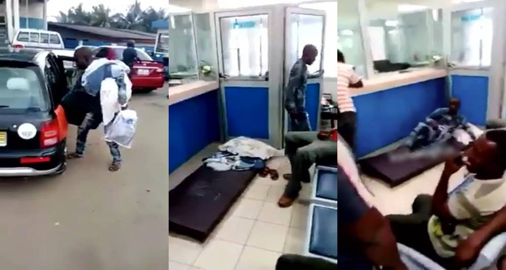 Young man shows up at bank with mattress and pillow over inability to withdraw money (Video)