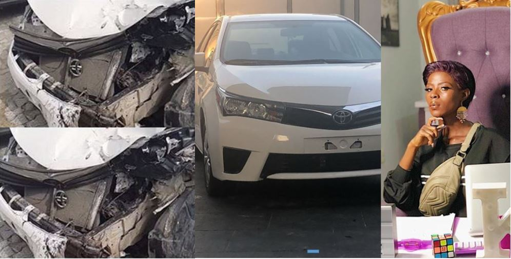 BBNaija's Khloe miraculously survives after crashing the Camry Obafemi Martins bought for her few months ago