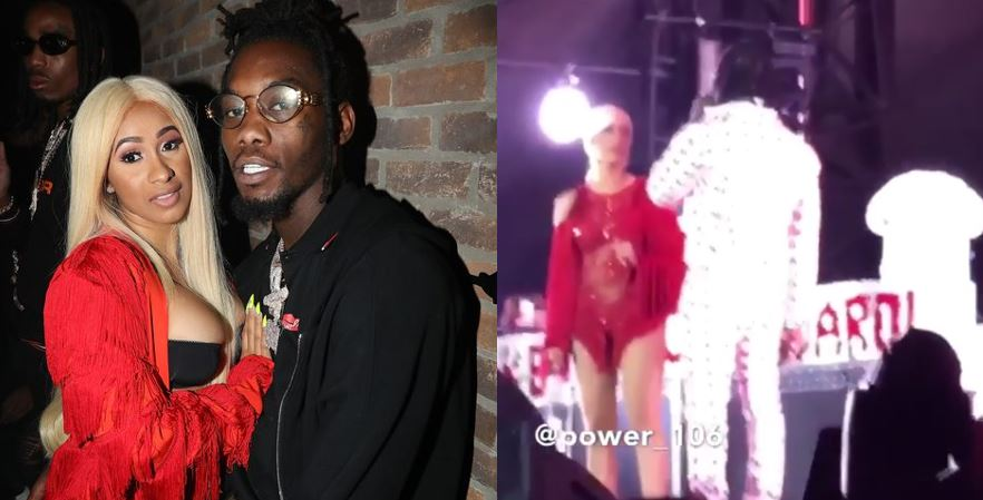 Offset crashes Cardi B's show with roses as he begs for forgiveness publicly