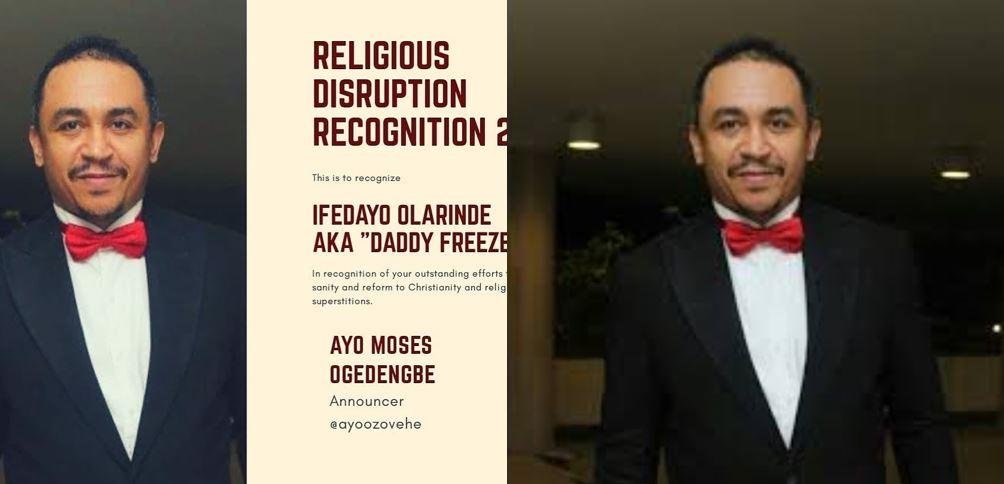 Daddy Freeze Bags 'Religious Disruption Award, Nigerians Take To Social Media To React