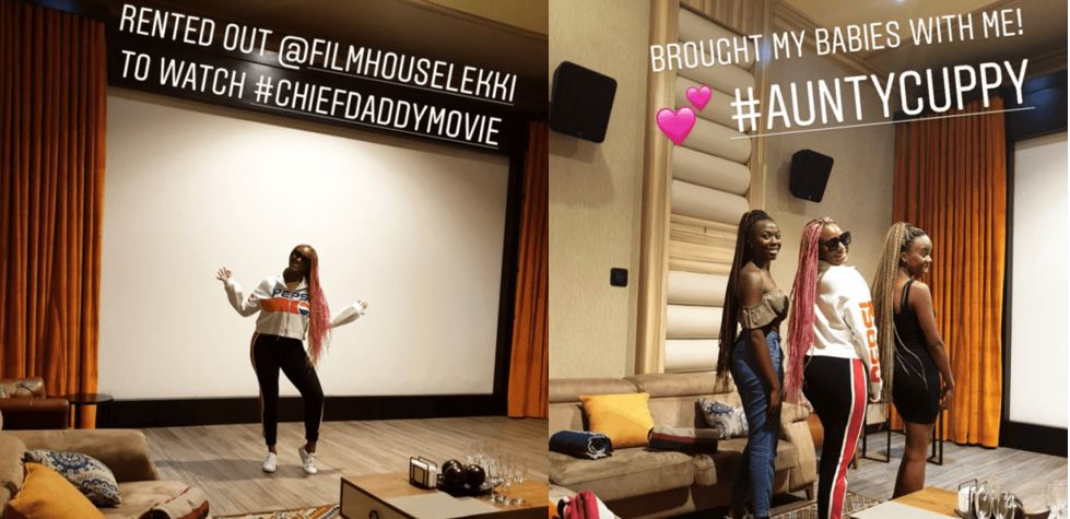 """DJ Cuppy rents out whole cinema to watch """"Chief Daddy"""" movie with two of her friends"""