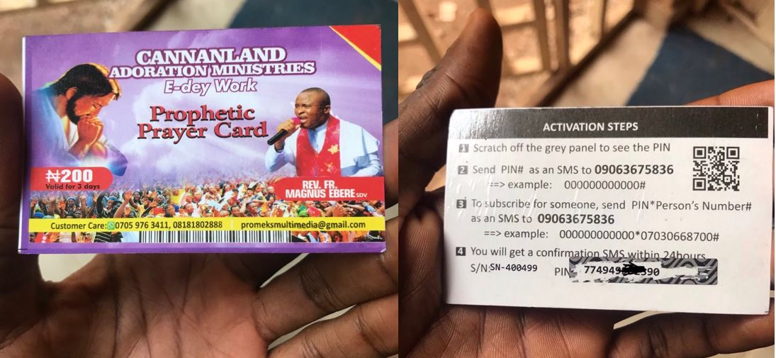New innovation: Prophetic prayer recharge card sold to church members in Nigeria (Photos)