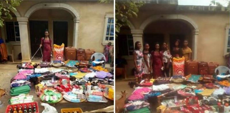 Photos of items a Nigerian man was made to bring as bride price