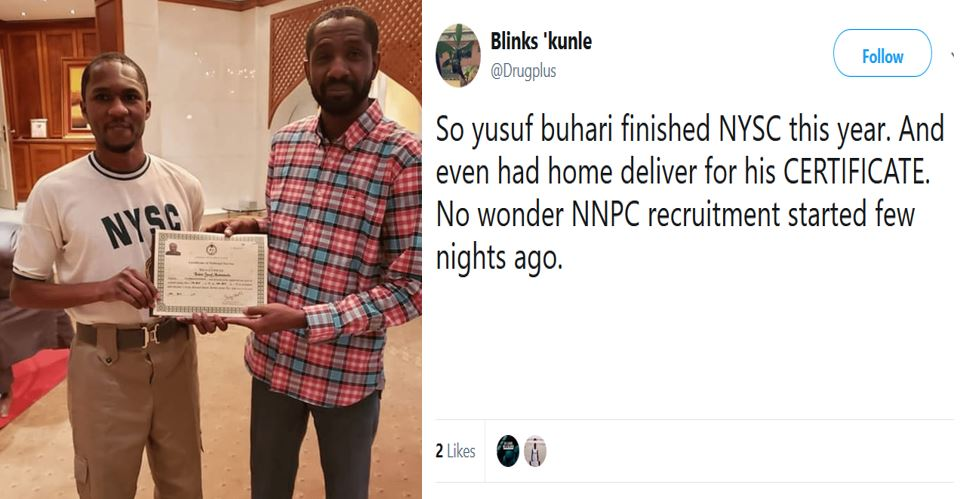Nigerians react to Yusuf Buhari receiving his NYSC discharge certificate at home