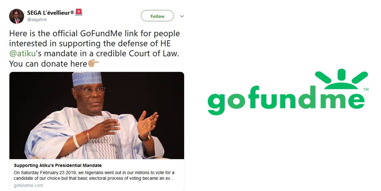 Nigerians react as GoFundMe account was opened to support Atiku as he goes to court over election result