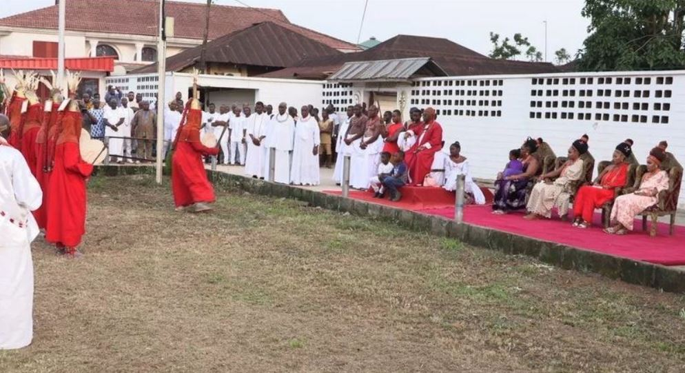 Oba of Benin Pictured With His Four Beautiful Wives As He Commences Traditional Event In Edo