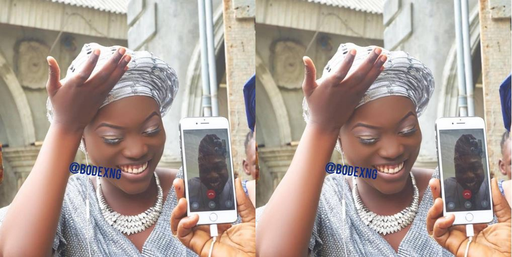 Nigerian lady gets married to her US based fiance through a video call