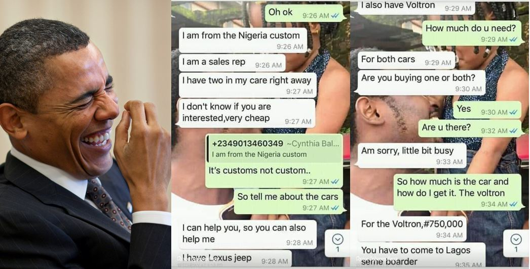 Hilarious chat between a Nigerian and a fraudster posing to be a Customs officer