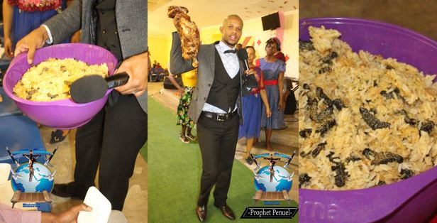 Prophet serves members with rice and worm for Holy Communion