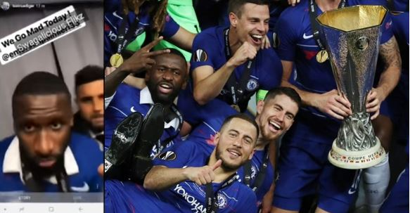 Anthony Rudiger and Emerson Palmieri dance to 'Wo' by Olamide after winning Europa cup (Video)