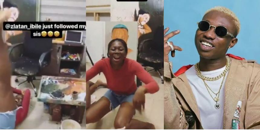 Lady rolls on ground after Zlatan Ibile followed her on Instagram