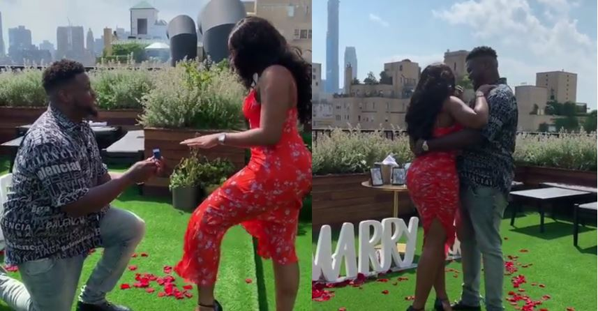 Video of Davido's brother, Adewale proposing to his girlfriend, Kani