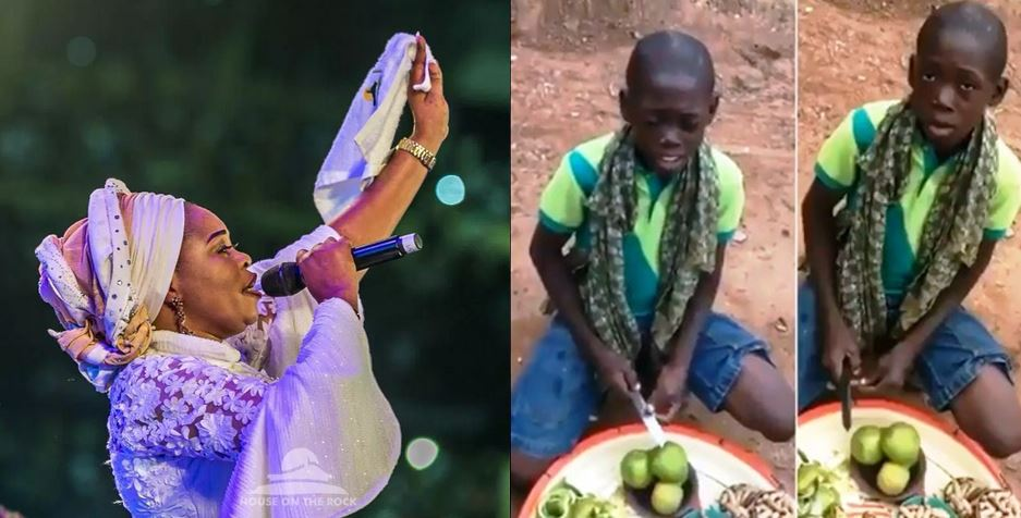 Young hawker with an amazing voice goes viral after singing Tope Alabi's song, Tope Alabi reacts