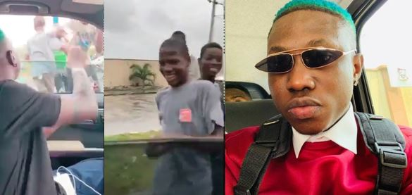 Zlatan Ibile shares money to children dancing Naira Marley's Soapy dance on the road (Video)