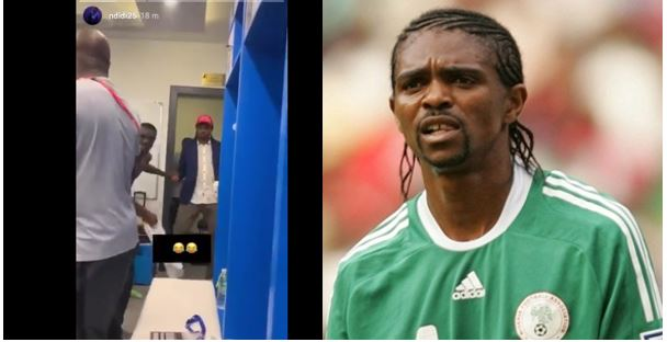 Kanu Nwankwo dances as Super Eagles sing for him in the dressing room (Video)
