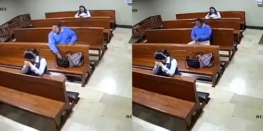 CCTV Footage Showing The Moment A Man Stole A Woman's Phone While She Was Praying In Church (Video)