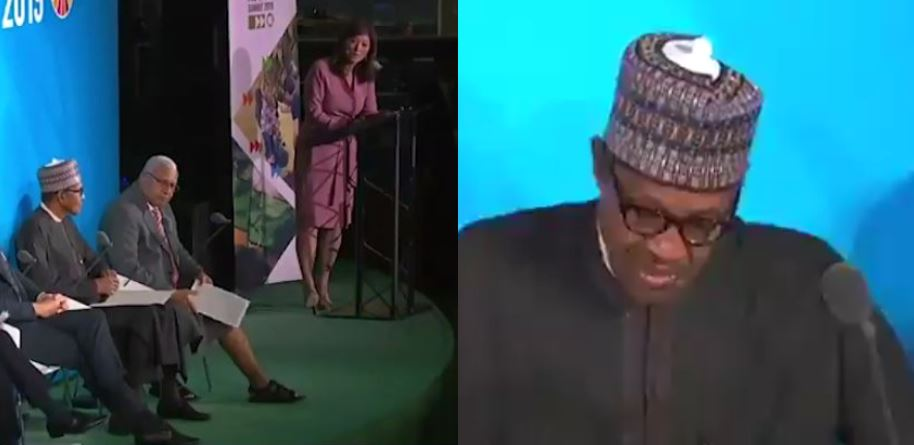 Nigerians react to trending video of Buhari answering a question at the UN General Assembly