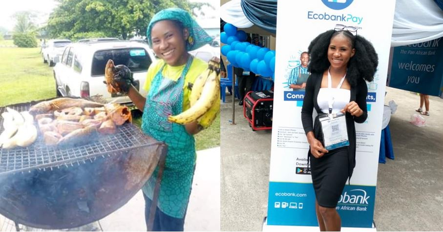 The inspiring story of a graduate who sells roasted plantain (bole) who is now an Ecobank ambassador