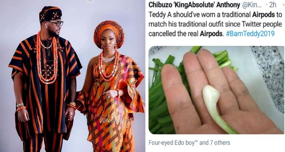 Social media users call out Teddy A for wearing Airpods at his introduction ceremony