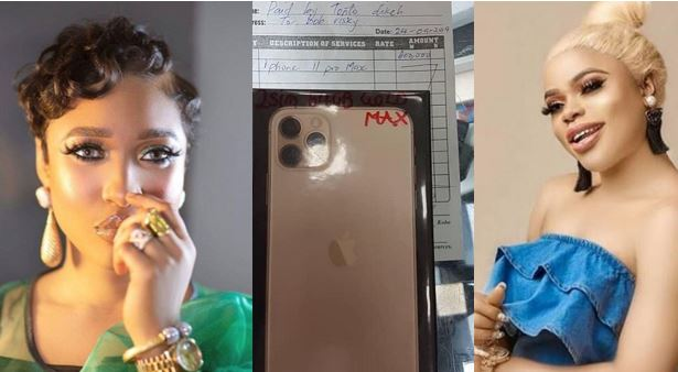 Image result for Bobrisky Reacts As Tonto Dikeh Gifts Him New IPhone 11 Pro