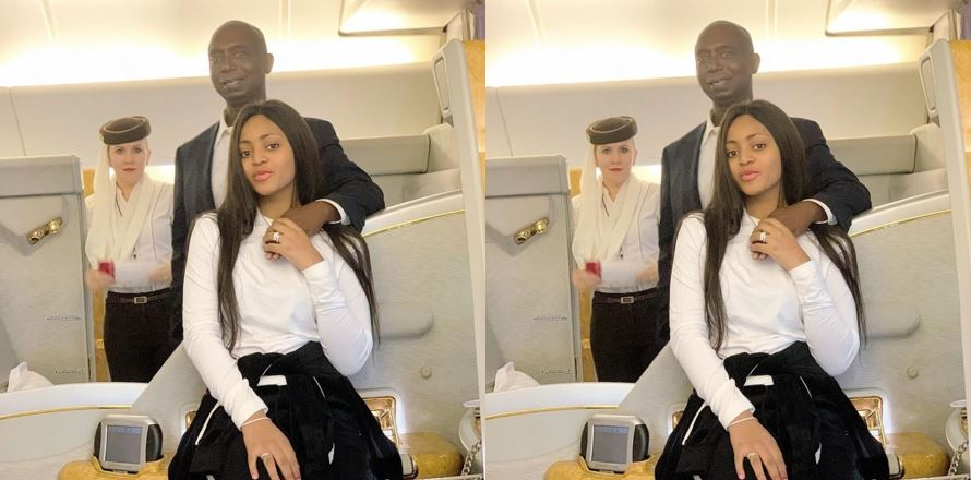 Loved up photo of Regina Daniels and her hubby in a plane