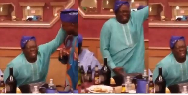 Nigerian father spotted dancing Naira Marley's soapy with all seriousness (video)