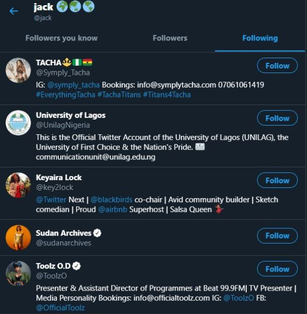 Jack Dorsey follows Tacha