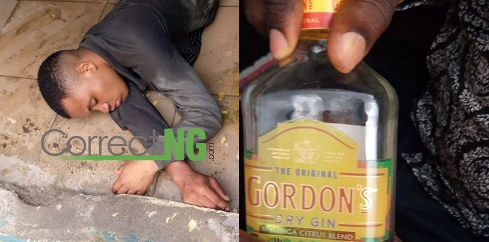 Man at the point of death after drinking one bottle of Gordon's dry gin to win a bet of N8000 in PH (Video/Photos)