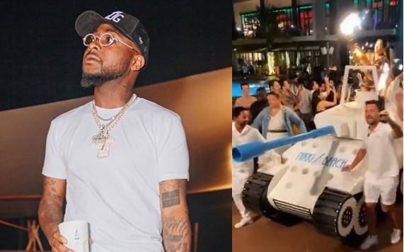 Dubai hotel uses 'armoured tank' to deliver expensive drink to Davido (Video)