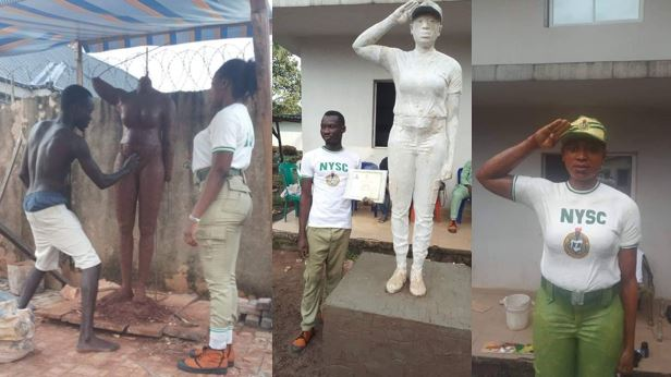 Meet the talented corper who made a beautiful statue of a female corp member in Benin (Photos)