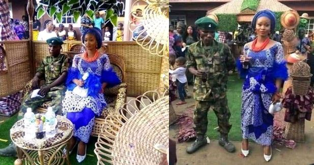 Soldier refuses to wear traditional attire for his wedding, wears khaki (Pictures)