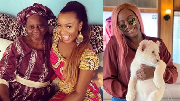 DJ Cuppy's grandmother reacts after hearing that she has a baby Lion