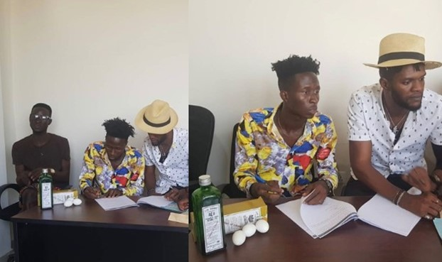 Photos: Ghanaian label boss signs new artiste with Schnapps and eggs