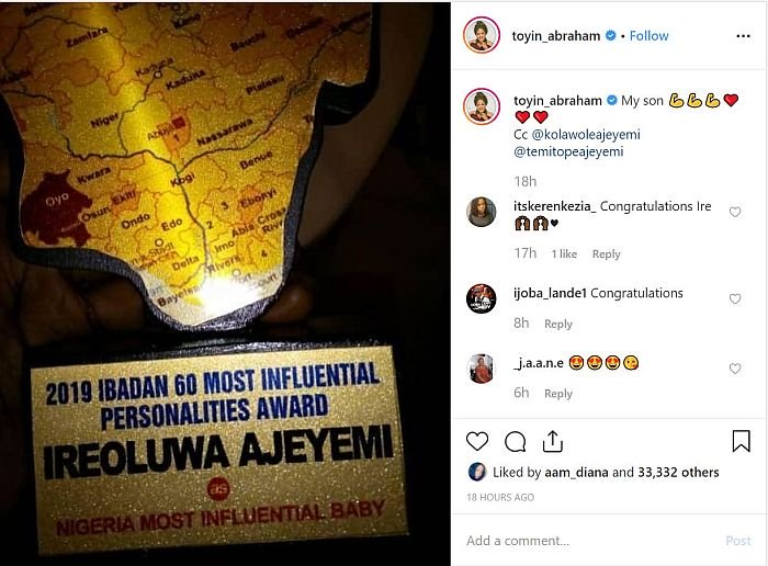 OFFICIAL! Toyin Abraham's child becomes 'Nigeria's Most Influential Baby'