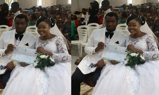 Couple weds with no reception, bridal train, groomsmen, best man and chief bridesmaid